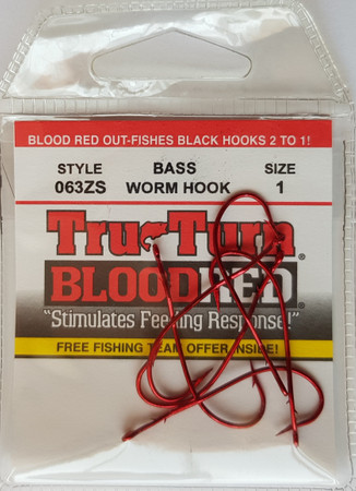 Tru-Turn 063ZS Wurmhaken, Bleeding Bait Red Finish
