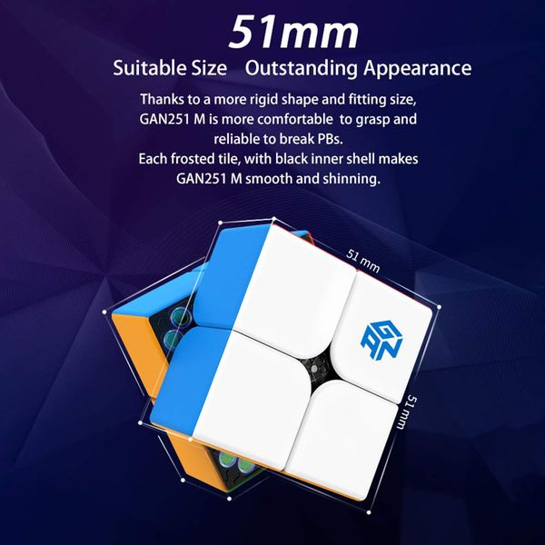 2x2 Speed Cube GAN251 M (Magnition) - Stickerlos