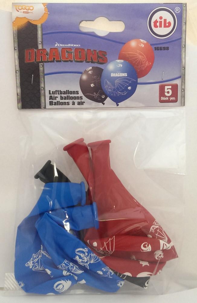 5 Luftballons mit Drachenzähmen leicht gemacht Motiv