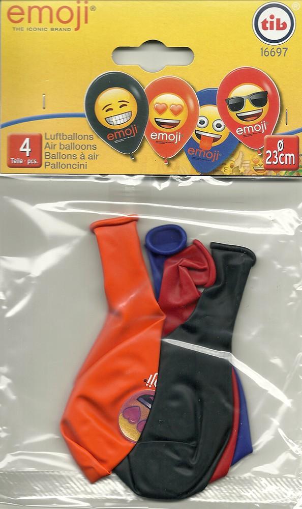 4 Luftballons * EMOJI * für Party und Kindergeburtstag