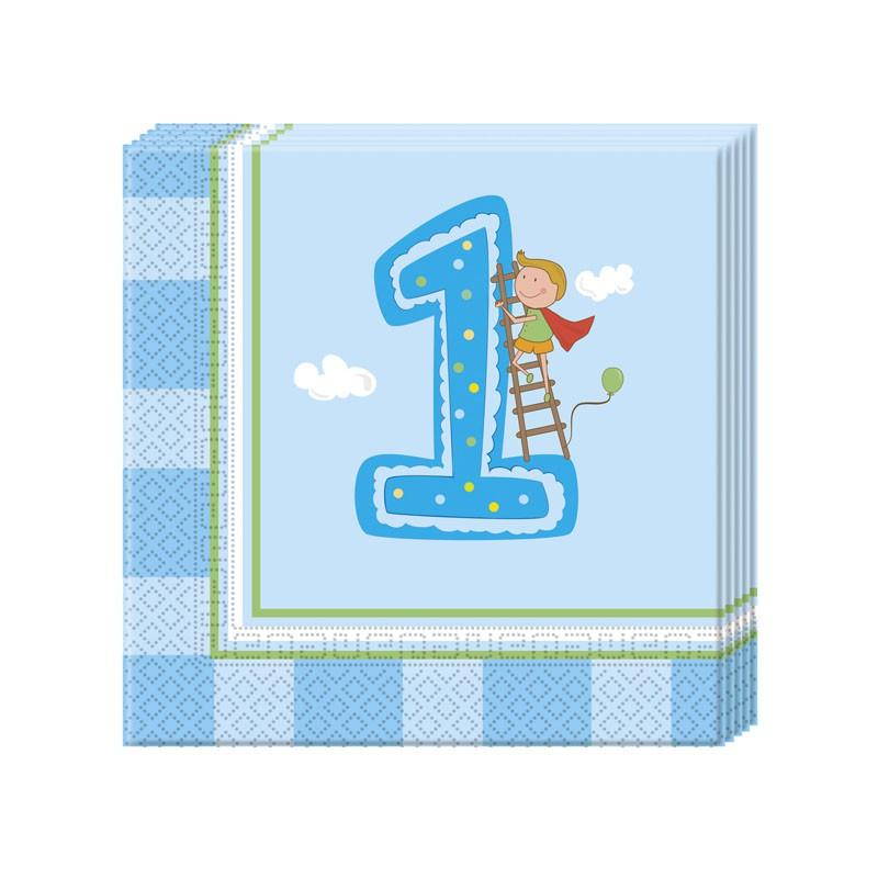Erster Geburtstag Jungen 2-lagige Papierservietten 33x33cm