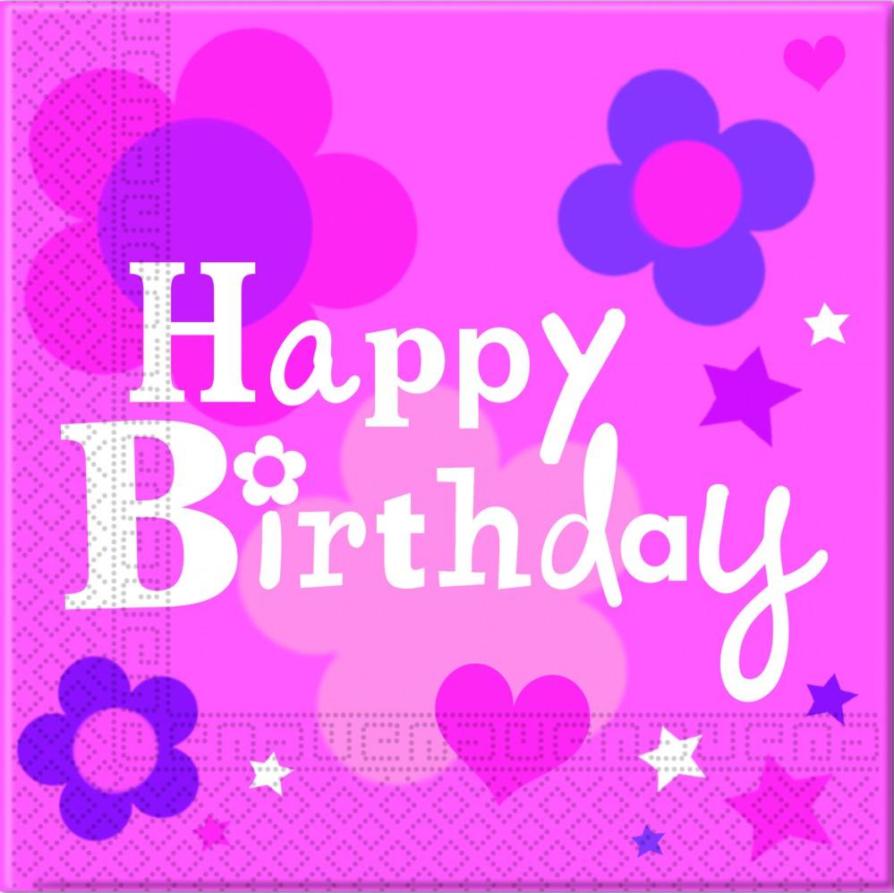 Happy Birthday Mädchen 2-lagige Papier Servietten 33x33cm