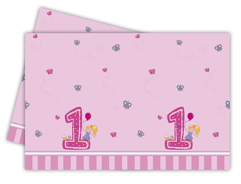 Erster Geburtstag Mädchen Kunststoff Tischdecke 120x180cm