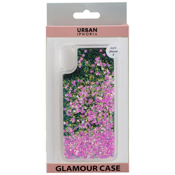 URBAN STYLE Back Cover GLAMOUR BLACK FRAME für Apple iPhone X - Pink – Bild 1