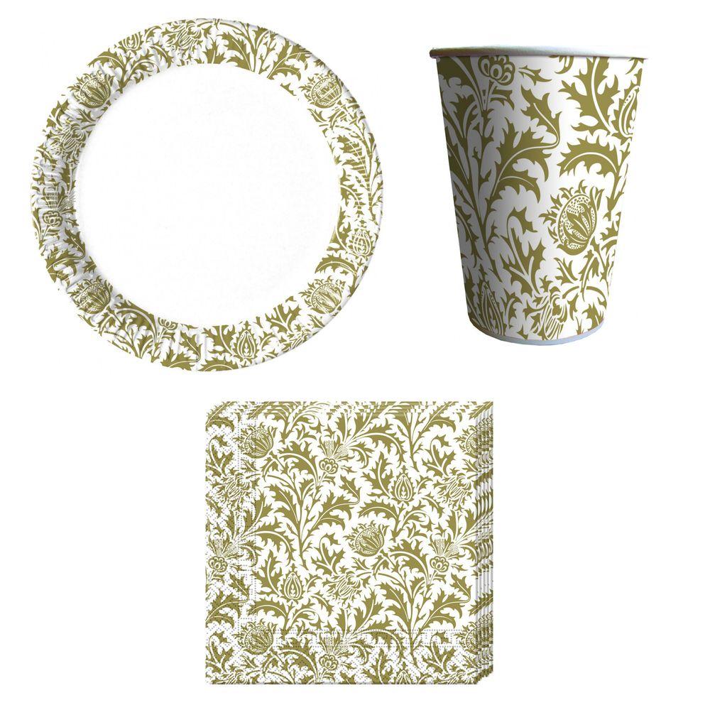 36-teiliges Royal Flower Party-Set inkl. Pappteller, Kunststoffbecher und Papierservietten