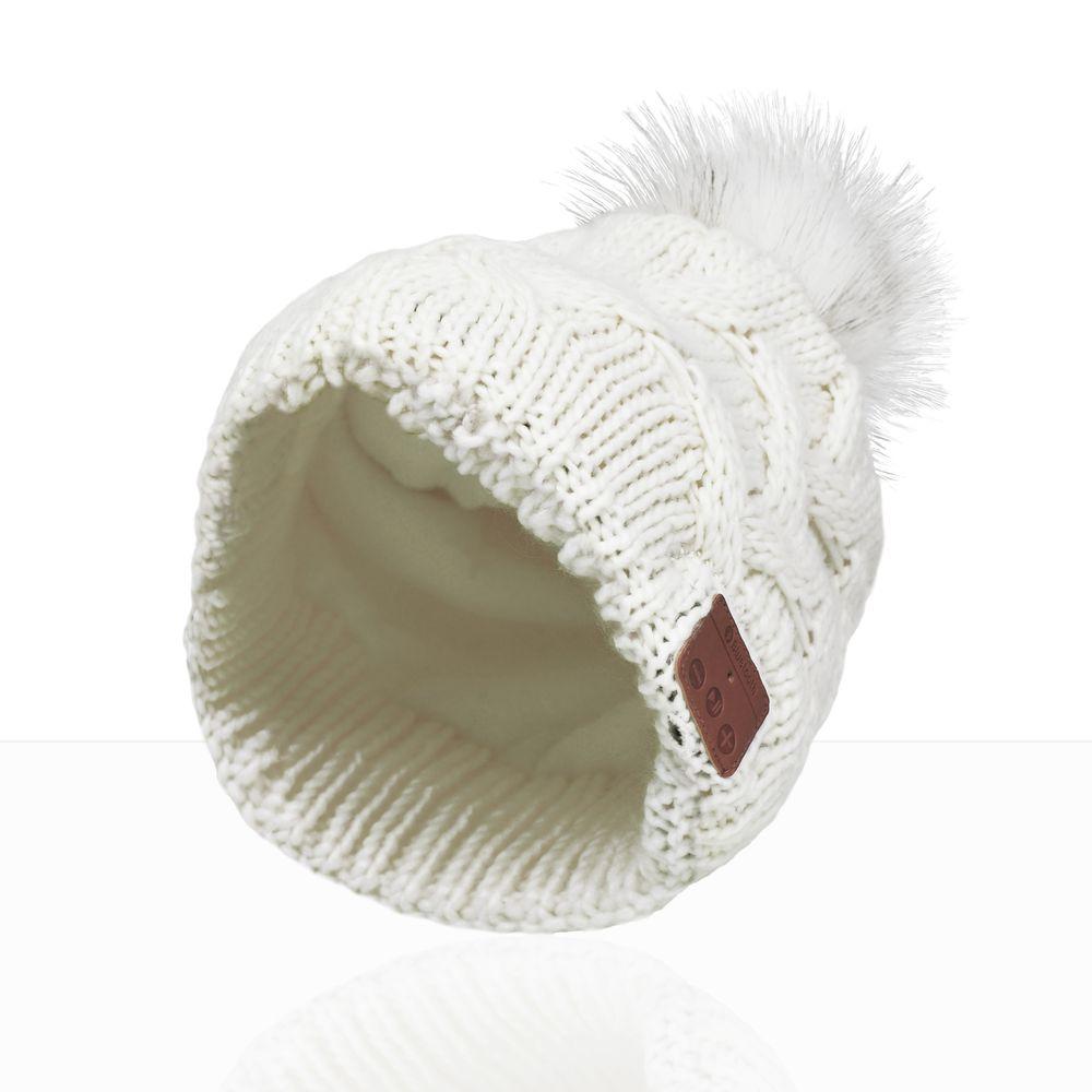 LEICKE Sharon Music Beanie Bluetooth Kopfhörer Mütze mit Zopfmuster Cremeweiß – Bild 1