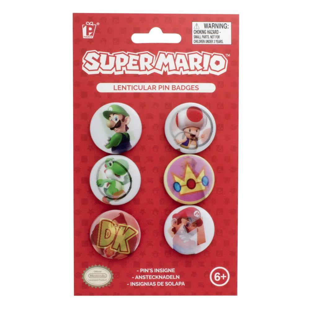 Super Mario Ansteck-Buttons 6er-Pack