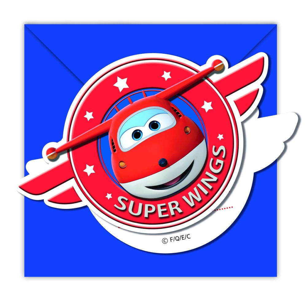 Super Wings Einladungskarten 6 Stück
