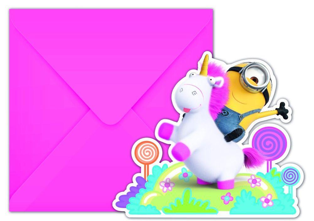 Fluffy Minions - 6 Einladungskarten