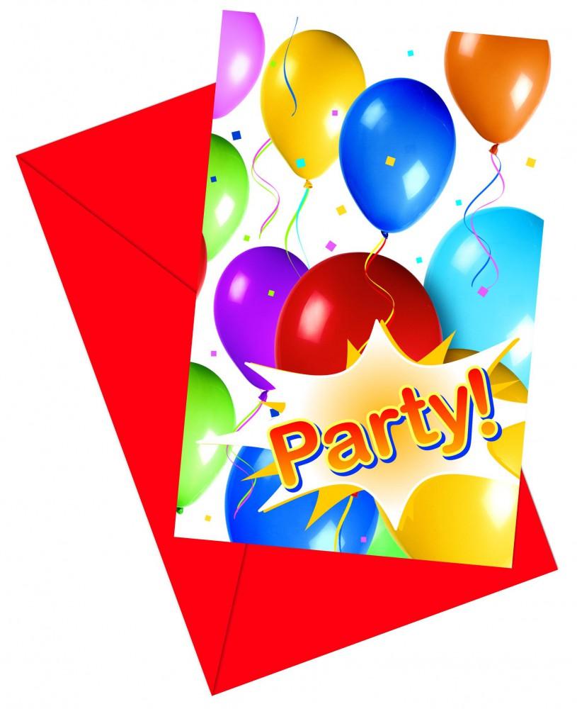 12x Balloons Party Einladungskarten mit Umschlag