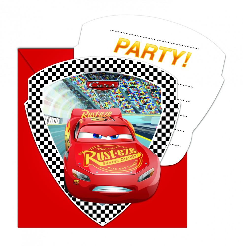 12x Cars 3 gestanzte Einladungskarten mit Umschlag