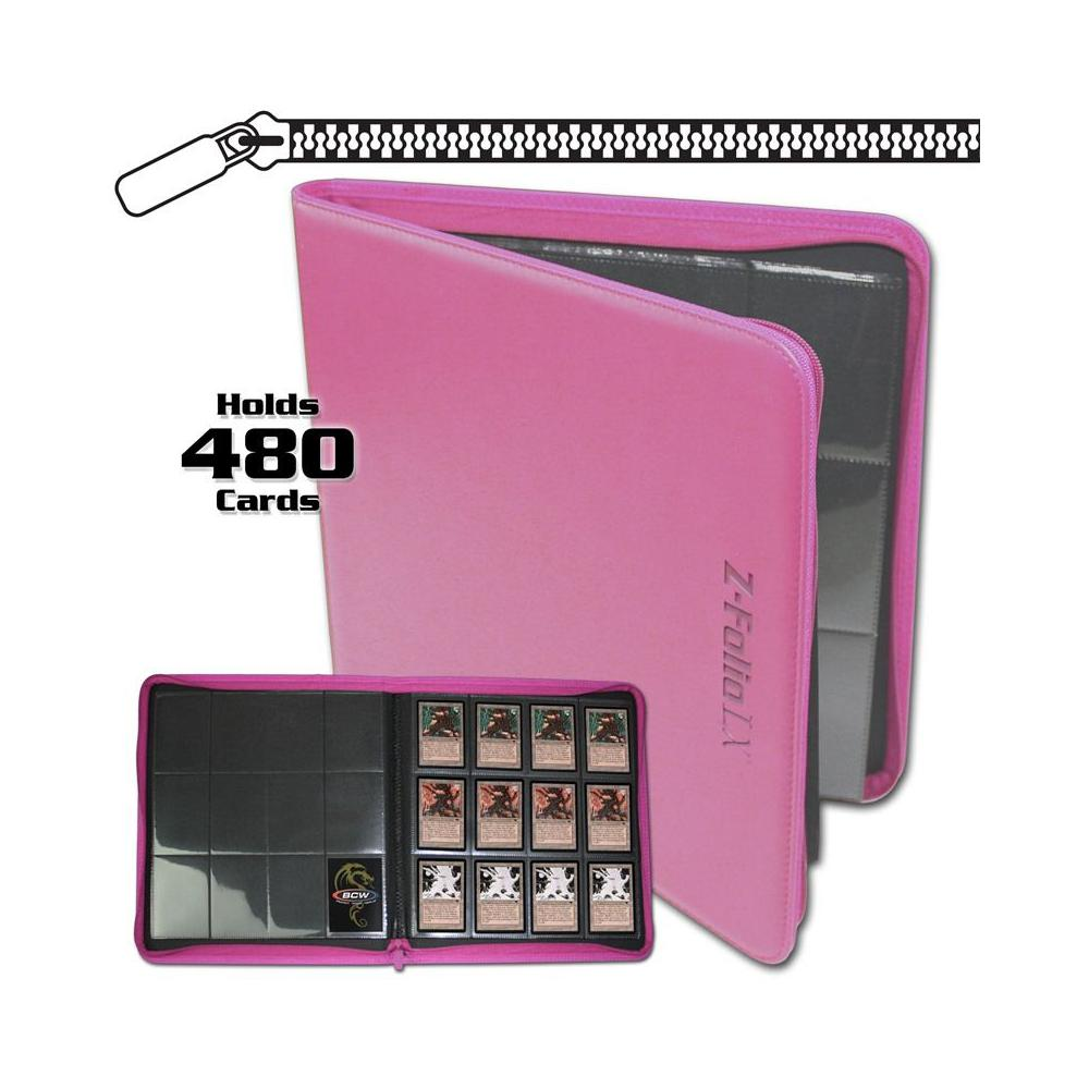 BCW Zipper-Folio 12-Pocket LX Portfolio Pink