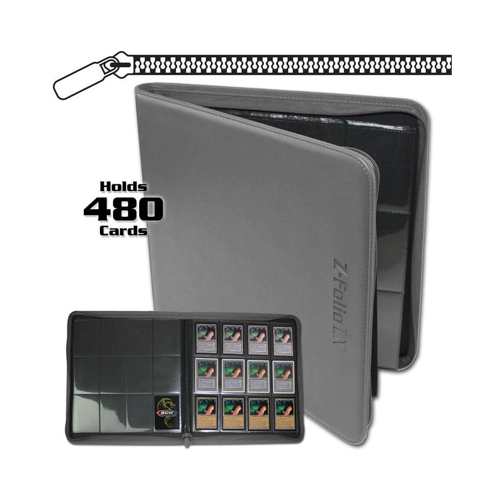 BCW Zipper-Folio 12-Pocket LX Portfolio Gray