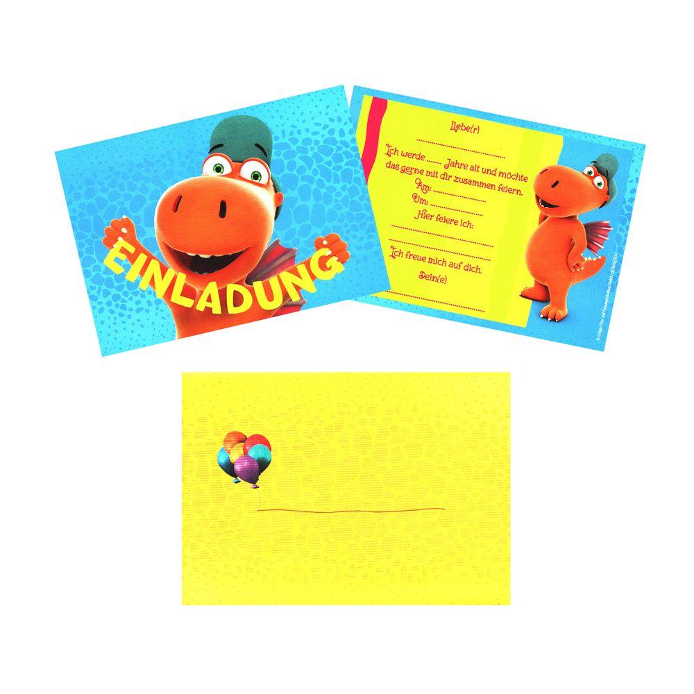 12-teiliges Einladungskarten-Set Der kleine Drache Kokosnuss