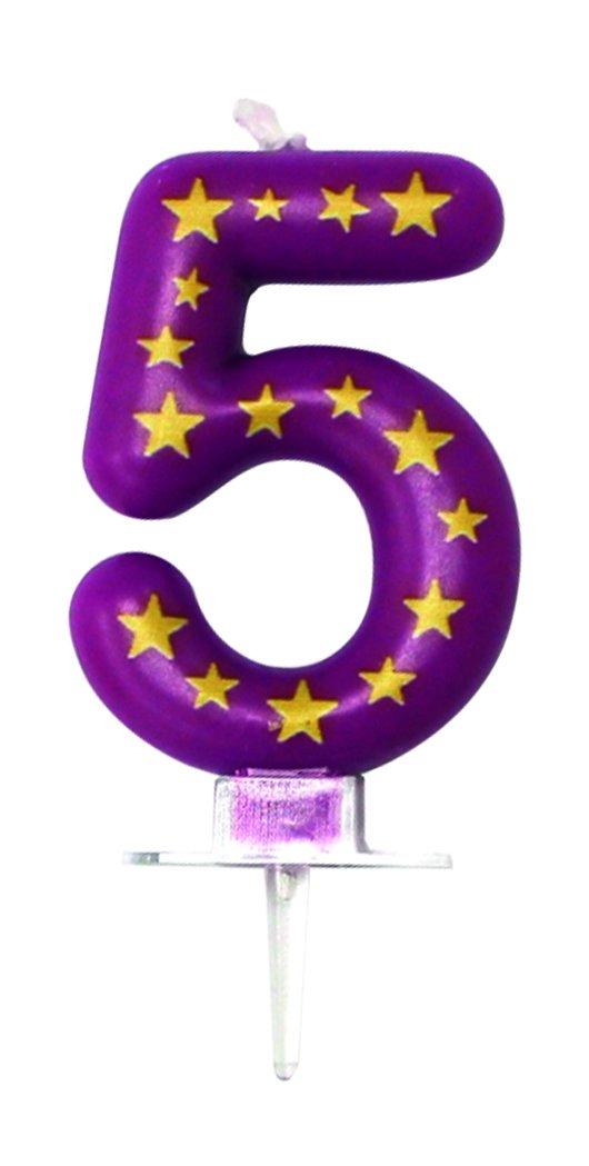 Geburtstagskerze Zahl 5 Farbe violett