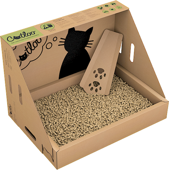 CATLOO Bio-Einweg-Katzentoilette Größe M ohne Höhle - 50x35x35 cm (LxBxH) inkl. 2x2,2 kg Einstreu 001