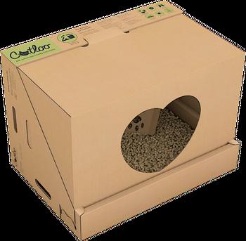 CATLOO Bio-Einweg-Katzentoilette Größe M mit Höhle - 50x35x35 cm (LxBxH) inkl. 2x2,2 kg Einstreu 001
