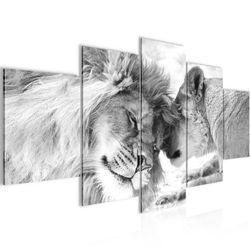Löwen Liebe BILD KUNSTDRUCK - AUF VLIES LEINWAND - XXL DEKORATION Gelb Bild 2
