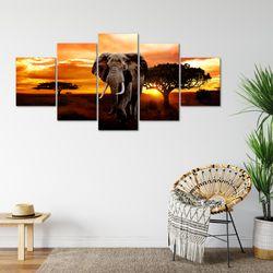 Afrika Elefant BILD KUNSTDRUCK  - AUF VLIES LEINWAND - XXL DEKORATION  00125P  Bild 6