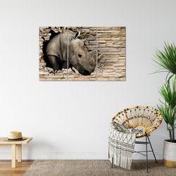 Steinwand Nashorn BILD KUNSTDRUCK  - AUF VLIES LEINWAND - XXL DEKORATION  001331P  Bild 6