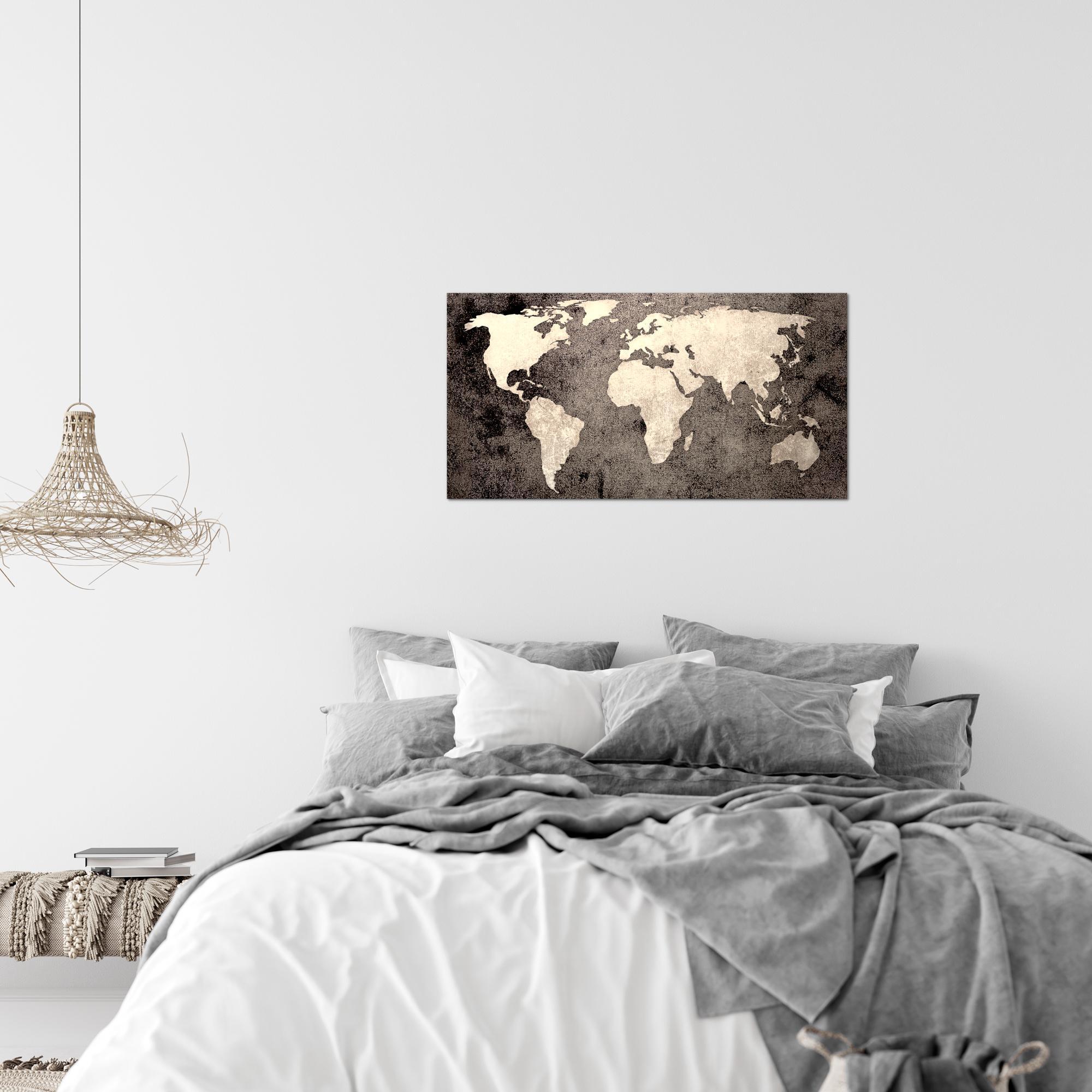 Weltkarte world map bild kunstdruck auf vlies leinwand xxl dekoration 101714p - Weltkarte bild leinwand ...