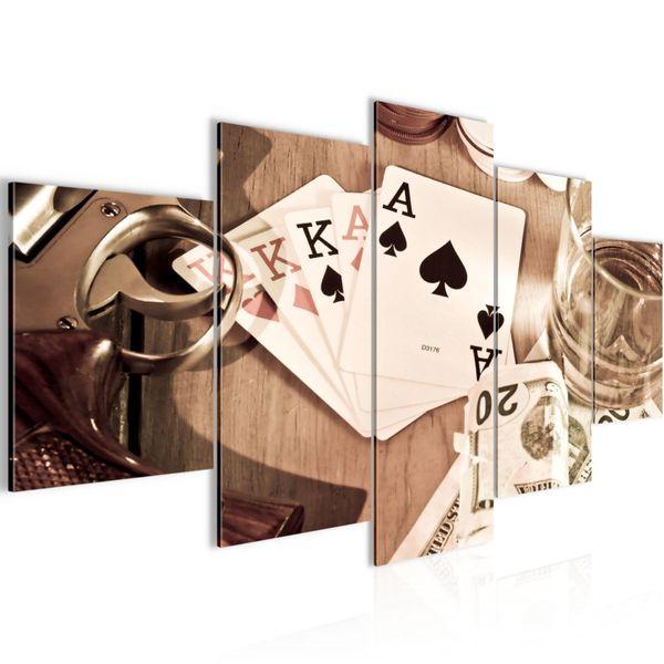 Poker Whisky Waffe BILD KUNSTDRUCK  - AUF VLIES LEINWAND - XXL DEKORATION  10355P