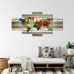 Weltkarte World Map BILD KUNSTDRUCK  - AUF VLIES LEINWAND - XXL DEKORATION  10545P  Bild 4
