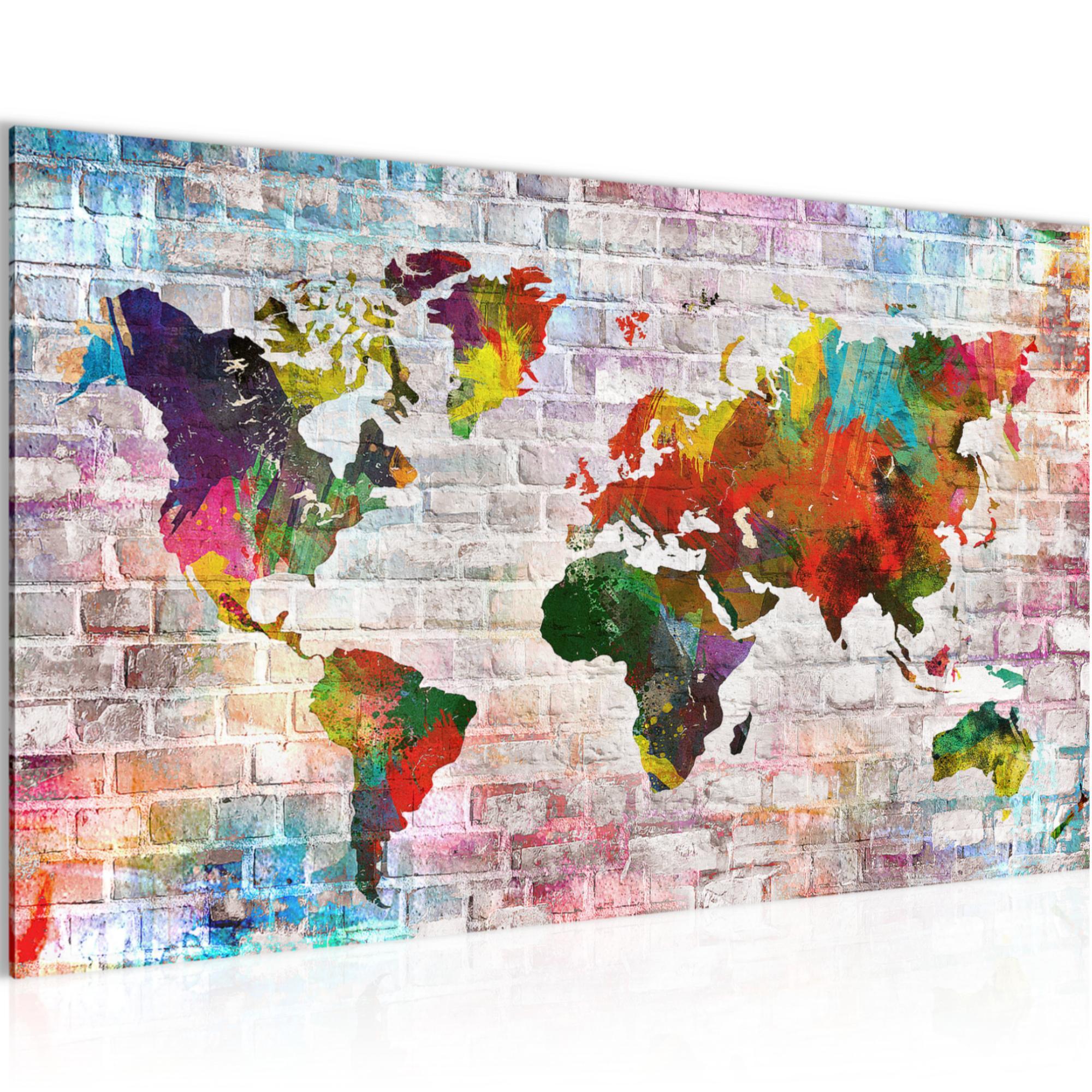 Weltkarte World map BILD KUNSTDRUCK - AUF VLIES LEINWAND - XXL ...