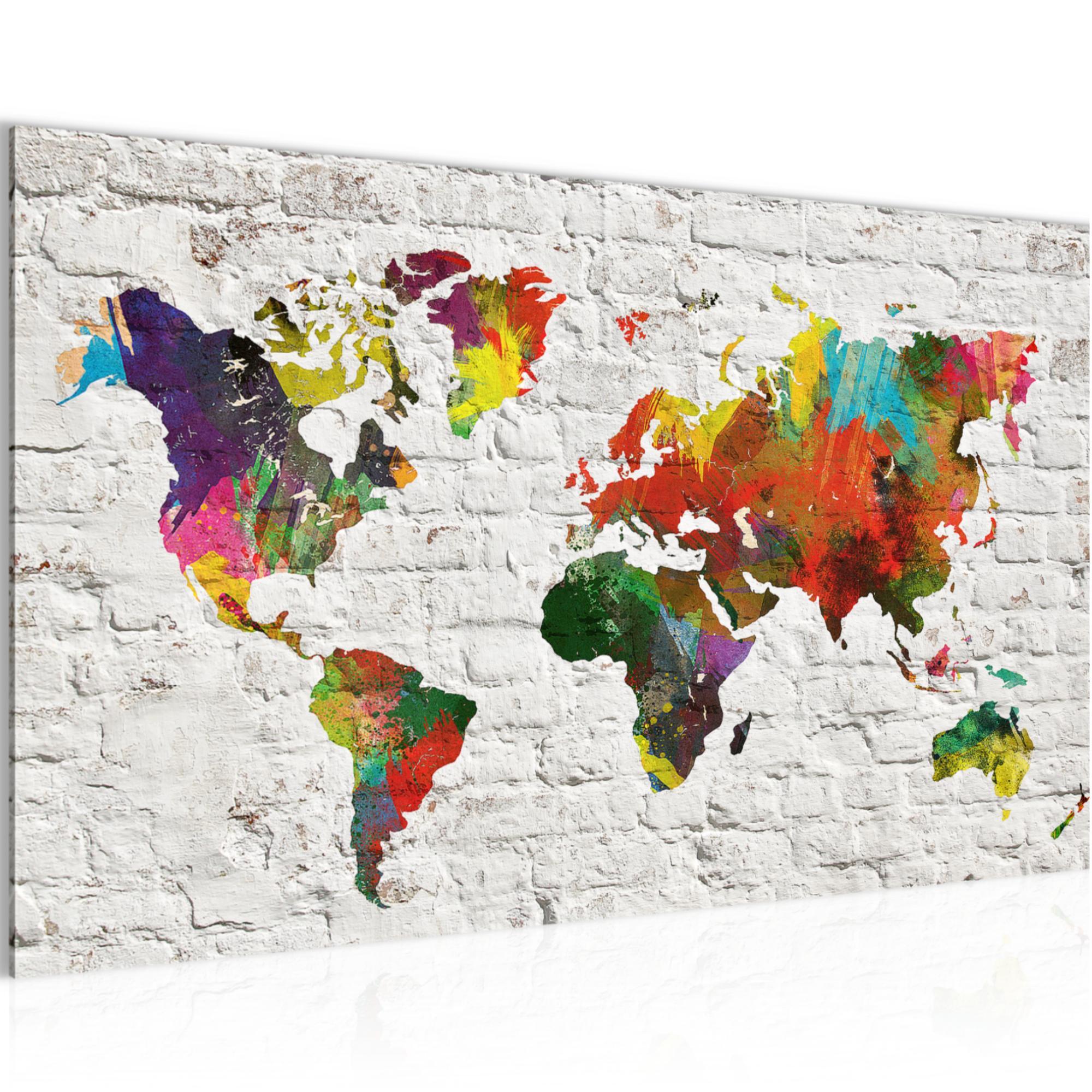 Weltkarte steinwand bild kunstdruck auf vlies leinwand xxl dekoration 106914p - Weltkarte bild leinwand ...
