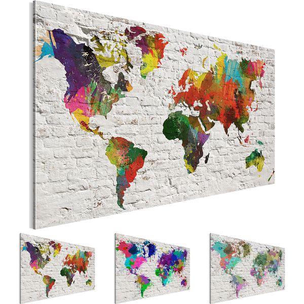 Weltkarte World map BILD KUNSTDRUCK  - AUF VLIES LEINWAND - XXL DEKORATION  10751P