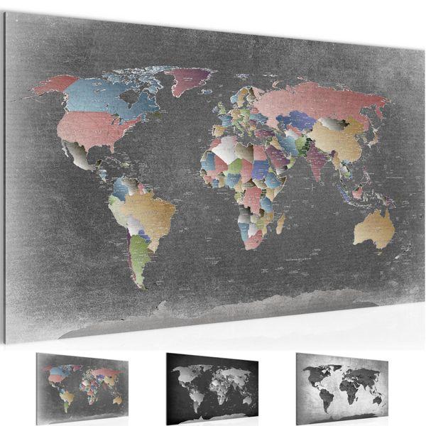 Weltkarte World map BILD KUNSTDRUCK  - AUF VLIES LEINWAND - XXL DEKORATION  107614P