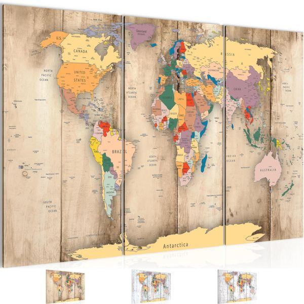 Weltkarte World map BILD KUNSTDRUCK  - AUF VLIES LEINWAND - XXL DEKORATION  108731P