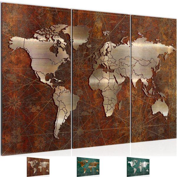 Weltkarte World Map BILD KUNSTDRUCK  - AUF VLIES LEINWAND - XXL DEKORATION  109031P