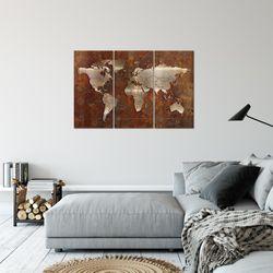 Weltkarte World Map BILD KUNSTDRUCK  - AUF VLIES LEINWAND - XXL DEKORATION  109031P  Bild 5