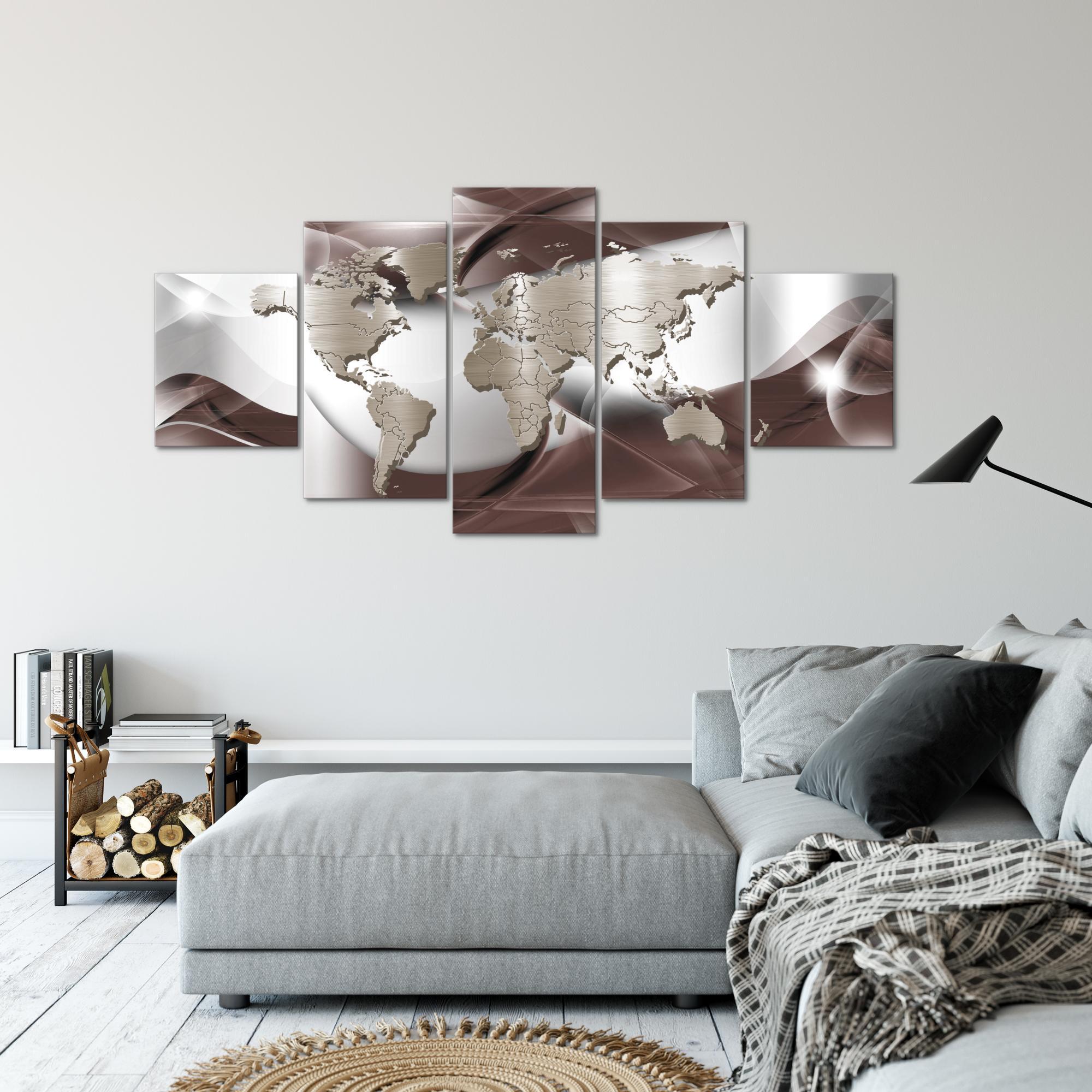 weltkarte world map bild kunstdruck auf vlies leinwand xxl dekoration 10925p. Black Bedroom Furniture Sets. Home Design Ideas