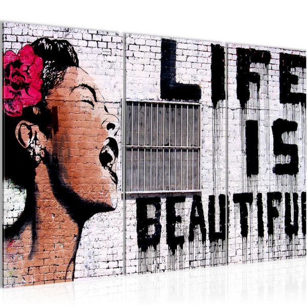 Life is Beautiful Banksy Street Art BILD KUNSTDRUCK  - AUF VLIES LEINWAND - XXL DEKORATION  301331P
