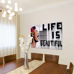 Life is Beautiful Banksy Street Art BILD KUNSTDRUCK  - AUF VLIES LEINWAND - XXL DEKORATION  301331P  Bild 4