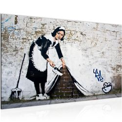 Maid Banksy Street Art BILD KUNSTDRUCK  - AUF VLIES LEINWAND - XXL DEKORATION  301714P  Bild 2