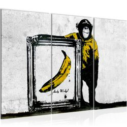 Affe mit Bannane Banksy Street Art BILD KUNSTDRUCK  - AUF VLIES LEINWAND - XXL DEKORATION  302231P  Bild 2