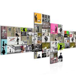 Collage Banksy Street Art BILD KUNSTDRUCK  - AUF VLIES LEINWAND - XXL DEKORATION  30274P  Bild 2