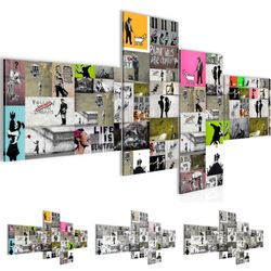 Collage Banksy Street Art BILD KUNSTDRUCK  - AUF VLIES LEINWAND - XXL DEKORATION  30274P  001