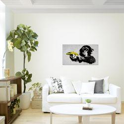 Affe mit Banane Banksy Street Art BILD KUNSTDRUCK  - AUF VLIES LEINWAND - XXL DEKORATION  30281P  Bild 3