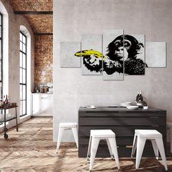 Affe mit Banane Banksy Street Art BILD KUNSTDRUCK  - AUF VLIES LEINWAND - XXL DEKORATION  30285P  Bild 5
