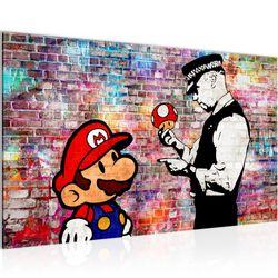 Mario and Cop Banksy Ziegel Mauer BILD KUNSTDRUCK  - AUF VLIES LEINWAND - XXL DEKORATION  30301P  Bild 2