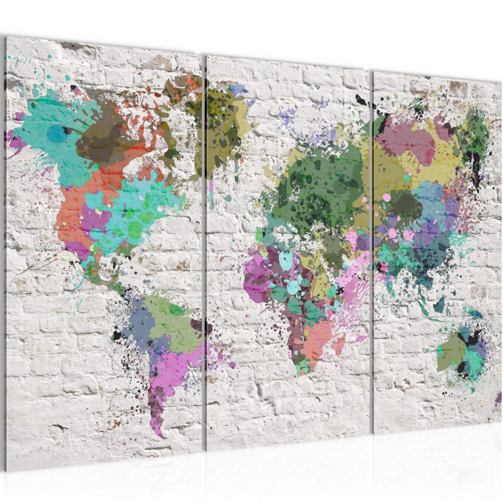 Weltkarte steinwand bild kunstdruck auf vlies leinwand xxl dekoration 3 teilig 107531p - Weltkarte bild leinwand ...