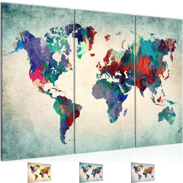 weltkarte world map bild kunstdruck auf vlies leinwand xxl dekoration 105131p. Black Bedroom Furniture Sets. Home Design Ideas