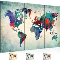 Weltkarte World map BILD KUNSTDRUCK  - AUF VLIES LEINWAND - XXL DEKORATION  105131P  Bild 1
