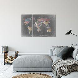 Weltkarte World Map BILD KUNSTDRUCK  - AUF VLIES LEINWAND - XXL DEKORATION  107631P  Bild 5