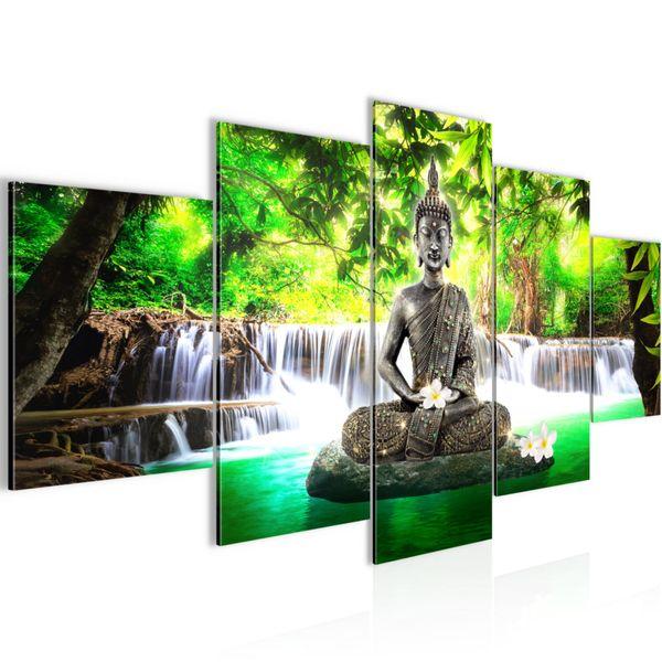 Buddha Wasserfall BILD KUNSTDRUCK  - AUF VLIES LEINWAND - XXL DEKORATION  50355P