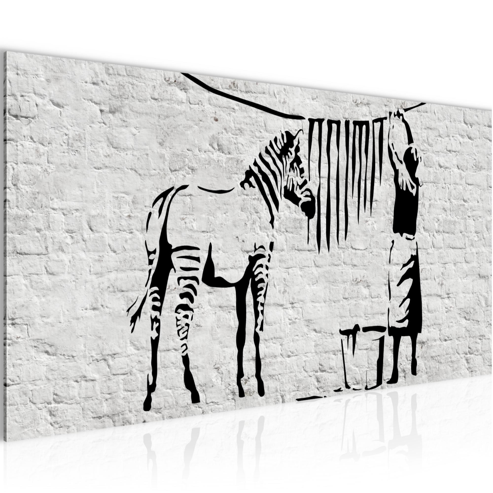 WANDBILDER XXL BILDER Washing Zebra Banksy Graffiti VLIES LEINWAND BILD KUNSTD